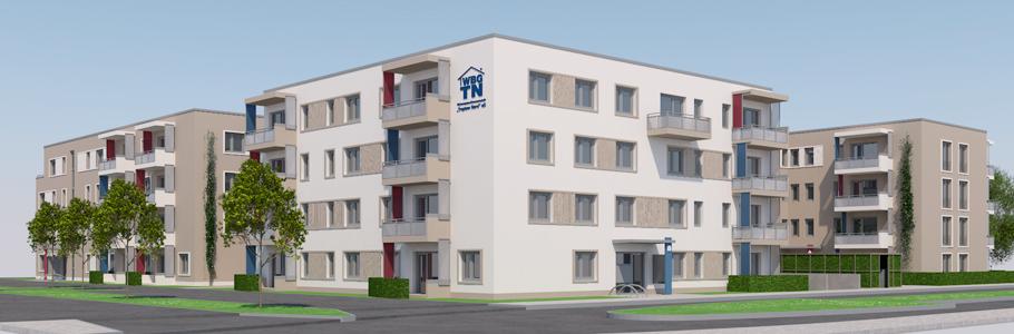 """Neubau """"HumboldEck"""" der WBG """"Treptow Nord"""" eG, Ansicht Straßenseite"""