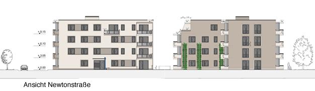 Neubauprojekt HumboldtEck, Ansicht Newtonstraße