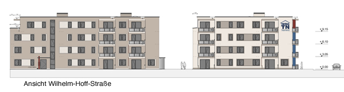 Neubauprojekt HumboldtEck, Ansicht Wilhelm-Hoff-Straße